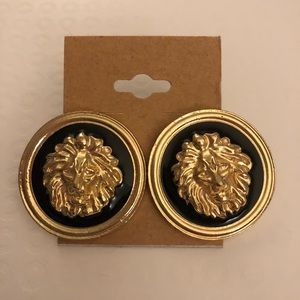 Black and gold tone lion medallion earrings!